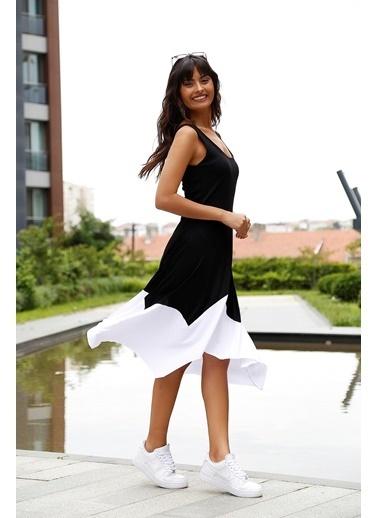 Matmazel Yuvarlak Yakalı Garne Detaylı Askılı Elbise Siyah